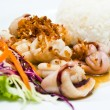 Steamed rice with fried squid with garlic and pepper — Stock Photo