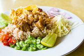 Delicious mixed cooked rice with shrimp paste sauce — Stock Photo