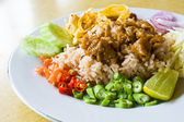 Mixed cooked rice with shrimp paste sauce on table — Stock Photo