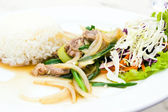 Steamed rice with fried sweet pepper with meat — ストック写真