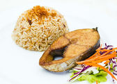 Steamed rice garlic with Fried King mackerel fish — Foto Stock