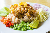Thai cuisine,Mixed cooked rice with shrimp paste sauce — Stock Photo