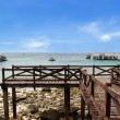 Wood bridge at Tawaen beach — Foto Stock #40704249