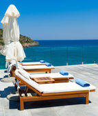Morning in luxury resort near Mediterranean sea — Foto Stock