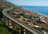 Overpass near sea.Sicily — Stock Photo