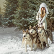 Fashion portrait of beautiful woman with three dogs — Stock Photo