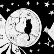 Picture of a kitty sitting in the round of stars - Stock Photo
