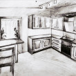 Scetch of kitchen interior in black and white — Stock Photo #22986750