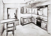 Scetch of kitchen interior in black and white — Stock Photo