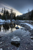 Waterton river in Winter — Stock Photo