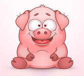 Sitting Pig — Stock Vector