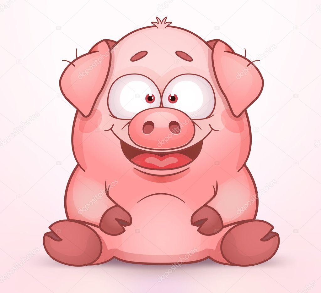 sitting pig stock vector real illusuion 25273793