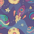 Space Seamless Pattern — Vettoriali Stock