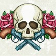 Skull, crossed guns and roses — Imagen vectorial
