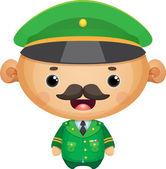 Karikatür asker subay — Stok Vektör