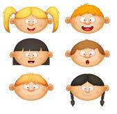 Kids Face Set — Stock Vector