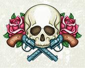 Skull, crossed guns and roses — Stock Vector
