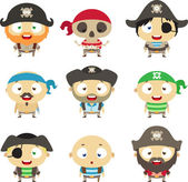 Set of cartoon pirates — Stock Vector