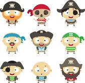Set of cartoon pirates — Stock Vector