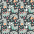 Seamless Monster Pattern — Vektorgrafik