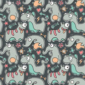 Seamless Monster Pattern — Vettoriale Stock