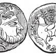 Ancient Greek Didrachma Coin, vintage engraving — Image vectorielle