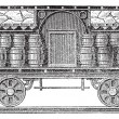 Iced beer barrels on wagon vintage engraving — Векторная иллюстрация