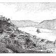 Burg Gutenfels, Rhin river, Germany, vintage engraving. — Stock Vector