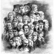 Group of artists, by Boilly, vintage engraving. — Stock Photo #13656181