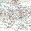 Topographical Map of Paris, France, vintage engraving — Stock Photo