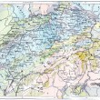 Stock Photo: Topographical Map of Alps, vintage engraving