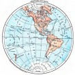 Earth, Western Hemisphere, vintage engraving. — Stock Photo