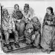 Laplanders or Sami , vintage engraving — Stock Photo