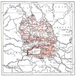 Map of department of Lozere, vintage engraving. — 图库照片 #13658557
