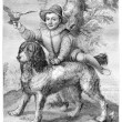 Frisius's son and the dog Goltzius, vintage engraving. — Stock Photo