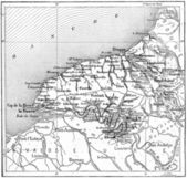 Map of department of the Lower Seine, France, vintage engraving. — Stock Photo