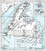 サンピエール ・ ミクロン、地図ビンテージ彫刻. — ストック写真