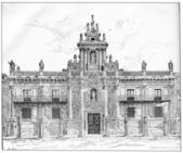 University of Valladolid in Castile-Leon in Spain, vintage engra — Stock Photo