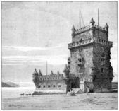 ベレンの塔、リスボン、ポルトガル、ビンテージ彫刻 — ストック写真