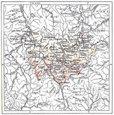 Topographical Map of the Department of Haute-Loire in Auvergne, — Stock Photo