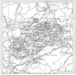 Map of Department of Haute-Saone vintage engraving - Foto Stock