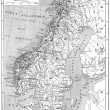 Map of Scandinavia - Sweden, Norway and Denmark vintage engravi — Stock Photo