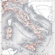 Map of modern Italy, vintage engraving. — Foto de Stock