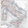 Map of modern Italy, vintage engraving. — 图库照片