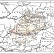 Topographical Map of the Department of Lot in Midi-Pyrenees, Fra - Stock Photo