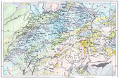Topographical Map of the Alps, vintage engraving — Stock Photo