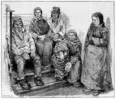 Laplanders 或萨米语,复古雕刻 — 图库照片