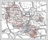 Topographical Map or Lorraine, France, vintage engraving — Stock Photo