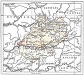 Topographical Map of the Department of Lot in Midi-Pyrenees, Fra — Stock Photo