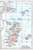 Map of Madagascar, vintage engraving — Stock Photo